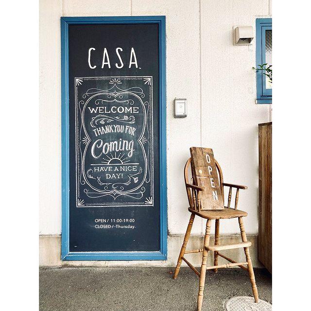 【 入店前ちょっと立ち止まって見てね 】スタッフYちゃんのCASA黒板シリーズ!入口前、カッコよくなっております。